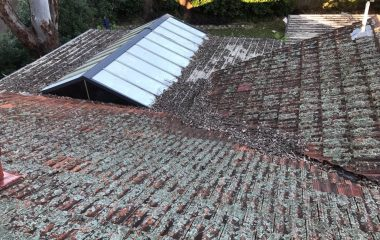 Cleaning Clay Roof Tiles before1